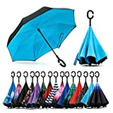 MB SELLERS Reverse Inverted Windproof Upside Down Umbrellas with C-Shaped Handle for Women and Men - Double Layer Inside Out Folding Umbrella (MULTI - COLOR)