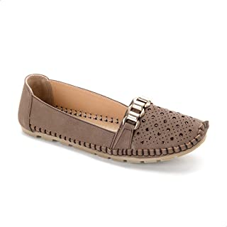 Grinta Faux Leather Circular Laser-Cut Stitched Flat Shoes for Women