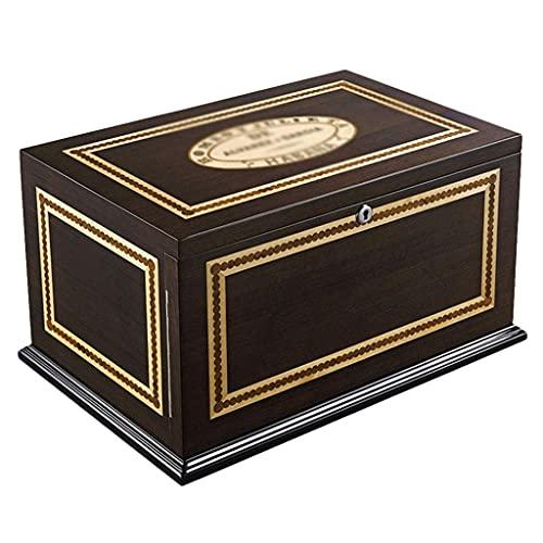 LITINGT Caja de Almacenamiento de cigarros - Humidores 120 Enfriador de cigarros Caja de cigarros de Tres Niveles Caja de cigarros de Pino Gabinete hidratante Pintura de Piano Humidificador de higró