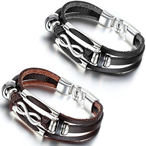 Flongo Lederarmband, 2 Stück Leder Echtleder Armband Armreifen Kordelkette Schwarz Braun Silber Infinity Unendlichkeit Lieben Zeichen Symbol 8 Motorradfahrer Biker Herren,Damen