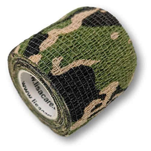 LisaCare Kohäsive Bandage - selbsthaftend, elastisch, 5cm breit für Mensch & Tier - Fixierbinde für Sport Arbeit Reiten mit Farb- & Motivauswahl (Camouflage grün, 12er-Set)