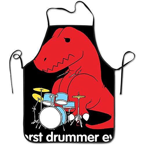 DSFA Der schlechteste Schlagzeuger Aller Zeiten Dinosaur T Rex wasserdichte Küchenschürze Komfortable und Pflegeleichte Schürzen 52 * 72 cm
