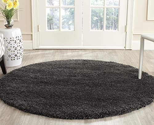 Safavieh Milan Shag Collection SG180-8484 Dark Grey Round Area Rug (3' Diameter)