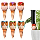 HUNTHAWK Plant Watering Stakes Owl, Self Watering Spikes Automatic Terracotta Spiral Devices with Irrigation Watering System for Outdoor Indoor Plants 6 Pcs