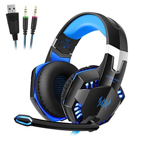 Gaming headset met microfoon, noise cancellation surround sound over ear hoofdtelefoon met LED-licht, bekabelde 3,5 mm gaming hoofdtelefoon voor nieuwe Xbox One, PS4, PC, laptops, Mac, Ipad, iPhone 5, 6, 7 blauw