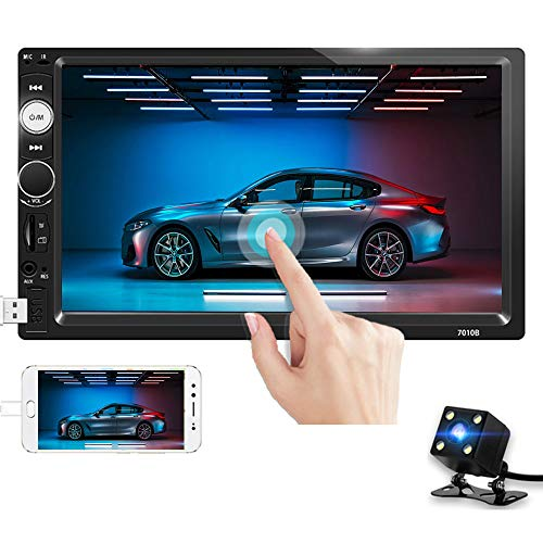 Double Din Car Stereo 7'' Touch Screen 2 Din Car Radio Bluetooth FM Radio with USB AUX-in/TF/SD Card Port Car Multimedia Player Support Mirror Link Steering Wheel Remote Control + Backup Camera