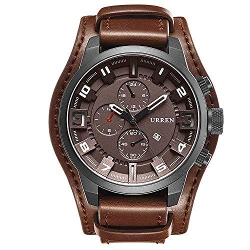 AZPINGPAN Reloj de Cuarzo de Negocios Informal para Hombre, Pulsera de Cuero, Relojes de Puntero mecánico, Reloj de Pulsera de Moda con Pantalla de Calendario de Hora Dual GMT, Movimiento japonés