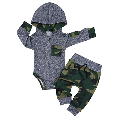 Baby Boy Clothes Camouflage Letter Print Hoodies+Long Camouflage Pants 2PCS Outfits Set 3-6 Months