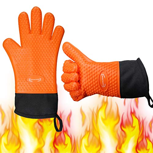 Long Silicone Grill Gloves - Heat Resistant Oven Mitts & Potholders for BBQ, Cooking, Baking – Wrist Protected, Waterproof, Cotton Layer Inside, Non-Slip Grill Accessories, 1 Size Fits All