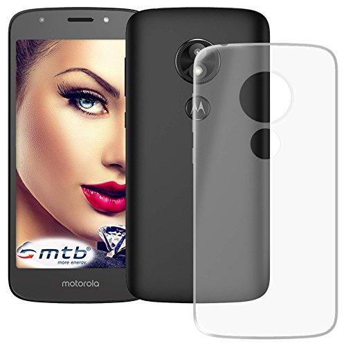 mtb more energy® Schutz-Hülle Clear und Slim für Motorola Moto E5 Plus (6.0'') - transparent - flexibel - TPU Silikon Hülle Cover Tasche