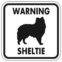 WARNING SHELTIE マグネットサイン:シェルティー(ホワイト)Sサイズ