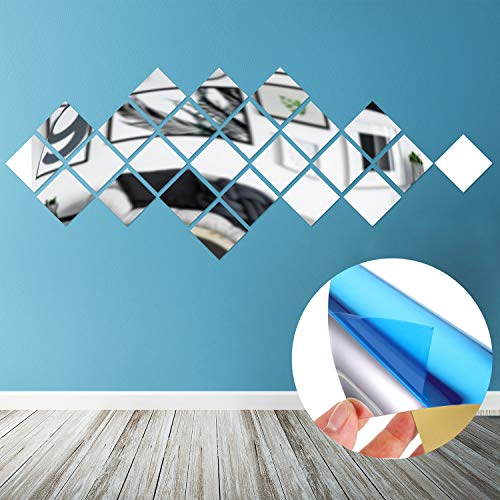 Abnehmbare Acryl Spiegel Einstellung Wandaufkleber Aufkleber für Zuhause Wohnzimmer Schlafzimmer Dekor (Stil 8, 24 Stücke)