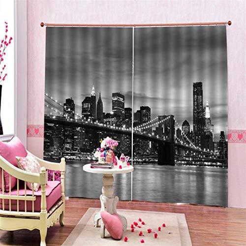 TJFGJ New York Brücke Vorhang, New York Brücke Nachtansicht Vorhang, Schwarzgrau Nachtansicht 3D Blackout Vorhänge Der Brücke Verwendet for Schlafzimmer Wohnzimmer Oder Hotel-Dekoration(2 Panels)