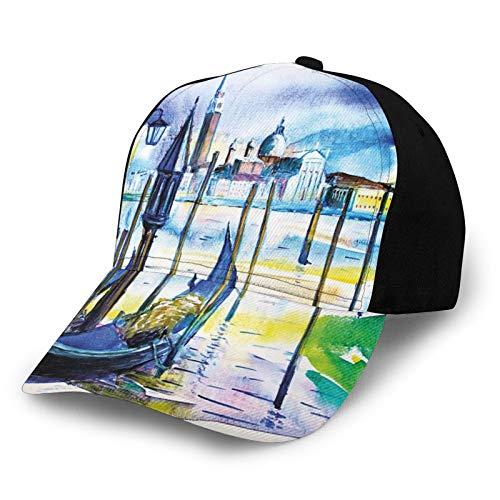 FULIYA Casquette de baseball unisexe à bord incurvé avec bateau à Venise en Italie Paysage marin Paysage marin Peinture aquarelle Tissu sergé polyester