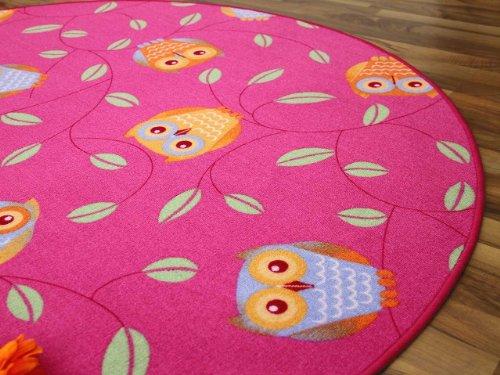 Kinderteppich Eule – rund (rosa) - 3