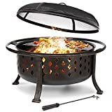 36 inch Fire Pit Outdoor Wood Burning Fire Pits Large Steel BBQ Grill Firepit Bowl for Outside with Cooking Grate Spark Screen, Poker for Patio Backyard Garden Picnic Bonfire, Oil Rubbed Bronze