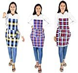 Waterproof Cotton Kitchen Multi Colour Apron with Front Pocket - Set of 3(Color and Design May Vary)