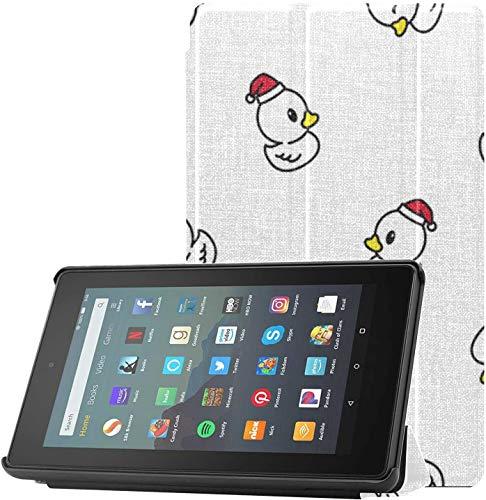 Funda para Tableta Kindle Fire 7 Funda de Goma Duck Repeat Wallpaper Bufanda Funda Ligera para Kindle para Tableta Fire 7 (novena generación, versión 2019) Ligera con Reposo automático/activación