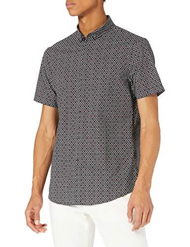 ARMANI EXCHANGE Black Micro Triangle Allover Camicia, Uomo