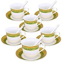 ufengke 7オンス コーヒーカップセット グリーンとゴールド フラワーパターン 磁器コーヒーセット セラミックフローラルティーカップとソーサー6個セット グリーン