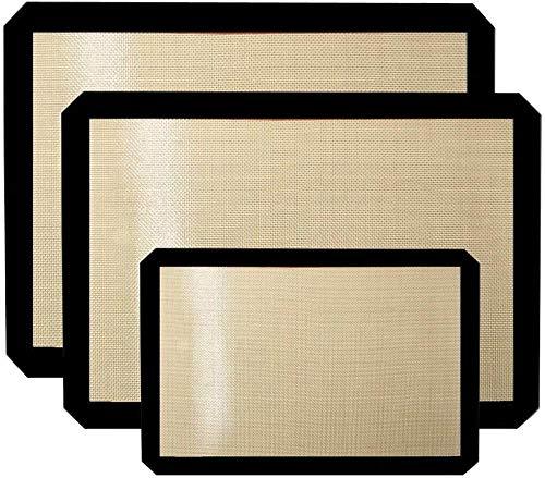 Avana Lot de 3 tapis de cuisson en silicone réutilisables avec revêtement anti-adhésif et résistant à la chaleur