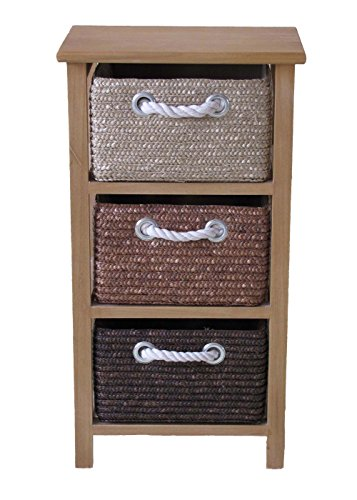 Home-ever Wood 3 Drawer Chest, Bedroom or Bathroom Storage Unit HE31