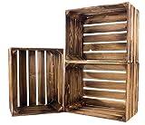Kontorei® geflammte/braune Apfelkisten 50cm x 40cm x 30cm 3er Set Holzkisten Weinkisten Obstkiste Kiste Box