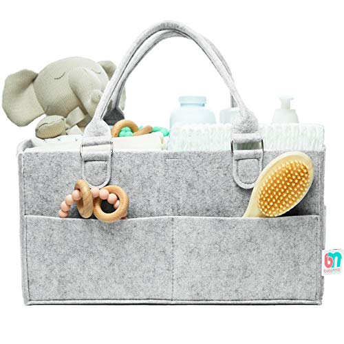 Babynma Felt Diaper Caddy - Extra Large Storage for Baby and Toddler Items - Portable Organizer Easily Holds Diapers, Wipes, Clothing, Burp Cloths, Toys, Bottles - Useful for Nursery, Bedroom, Living Room, Car - Baby Shower and Registry Gift - Grey