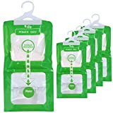 Moisture Absorbers Hanging Bags (5 pack - 230g each) to Rid Damp in Gun Safe, Closet, Cars, Wardrobes, Basement, Gym Bag| Humidity Bags for Closet and wardrobes