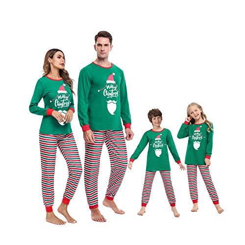 Irevial Weihnachten Familie Schlafanzug Outfit Nachtwäsche Herren Damen Kiner Lang Pyjamas Set mit Weihnachtsmotiv Fun-Nachtwäsche Christmas Hausanzug