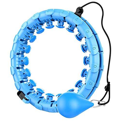 CH-BZ Smart Hula Hoop, 24 Nudos Tamaño Ajustable, Hula ponderados para Adultos y niños, 360 ° Auto-Spinning no cayendo Fitness Hula Hoops Entrenamiento para Hombres y Mujeres,Azul