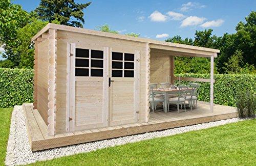 *Gartenhaus Pirum P88915 – 28 mm Blockbohlenhaus, Nutzfläche: 4,60 m², Pultdach*