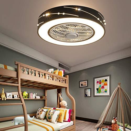 Ventilador De Techo Con Iluminación LED 72W Luz De Techo Control Remoto Moderno Ventilador Silencioso Invisible Lámpara De Dormitorio Sala Estar Comedor Habitación Infantil Lámpara De Techo Negro