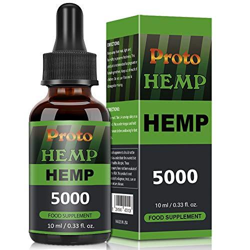 ProtoHemp Natural Oil,Contain Hemp Seed Oil,MCT Oil, NO GMO,GMP Standards, Add Fatty Acid-Omega 3-6-9, Vitamin C-E. (10ml-5000mg)