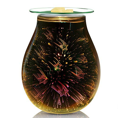 NOTOC 3D Glass Wax Melt Warmer Electric Wax Burner Melter Fragrance Warmer for Home Office Bedroom Living Room Gifts & Decor (Shooting Star)