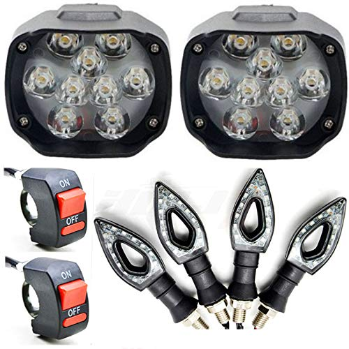 ESHOPGLEE Motorcycle Bike LED Headlight Fog Light 9 LED 2 PCS + 2 ON/Off Switch + 4 PCS Pointer Indicator Light
