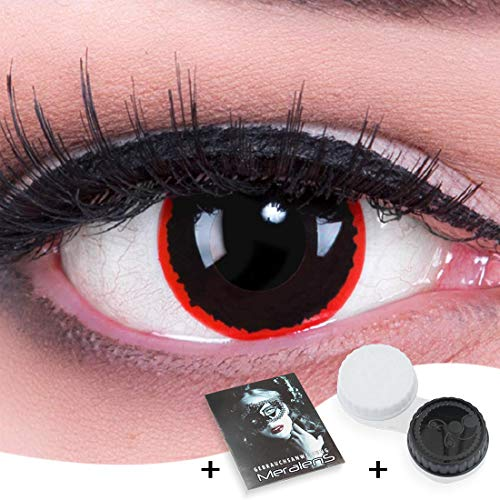 Funnylens 1 Paar farbige rote schwarze Crazy Fun exorcism Jahres Kontaktlinsen.Topqualität zu Fasching und Karneval mit gratis Kontaktlinsenbehälter ohne Stärke!