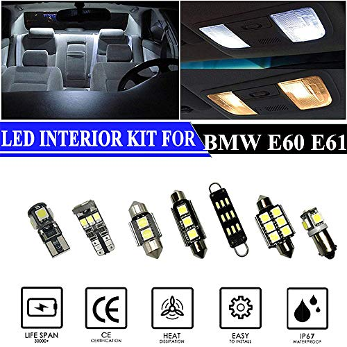 Hokuotolite Interior LED Lights Replacement for 2004-2010 BMW 5 Series E60-E61 (525i 528i 530i 535i 545i 550i M5) ERROR FREE Premium Accessories Package Kit (17 Bulbs), WHITE
