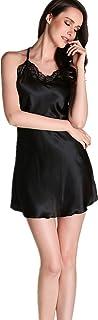maggiesee Women Sexy Lace Lingerie Nightdress Spaghetti Strap Backless Nightgowns Comfortable Satin Sleep Dress Pajamas (Black, M)