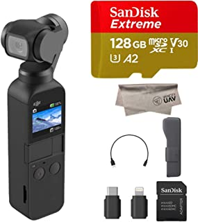 2019 DJI Osmo Pocket Handheld 3 Axis Gimbal with Integrated Camera, Comes 128GB Extreme Micro SD, Attachable to Smartphone, Android, iPhone