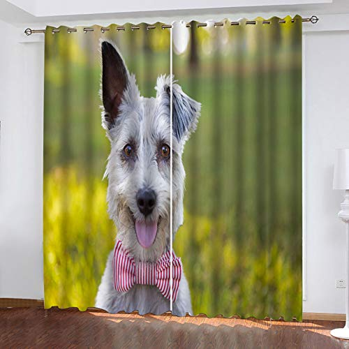 MMHJS European-Style Fashion Home Creative Decorative Curtains 3D Puppy Pattern Curtain Suitable For School, Baby Room, Children'S Room Curtain 2 Pieces