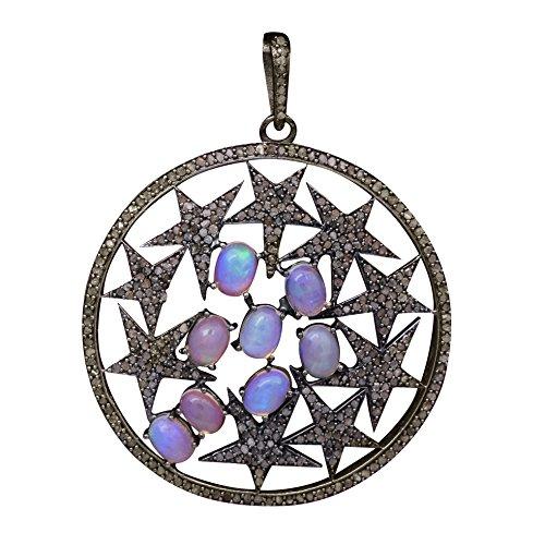 Shine Jewel Brillo joya 925 plata esterlina etíope ópalo diamante multi starer colgante para mujer Oval Ópalo Plata