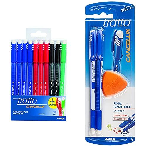 TrattoBusta Cancellik 8 + 2 Colori Scuola - 832700, 10 Pezzi & 041702 - Penna Con Inchiostro Cancellabile, Blu, Confezione Da 2