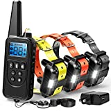 F-color Dog Training Collar, Range 2600ft Rechargeable Dog Collar with Remote, 4 Modes Light Beep Vibrating Water Resistant Collar for Medium Large Dogs Breed, 3 Pack