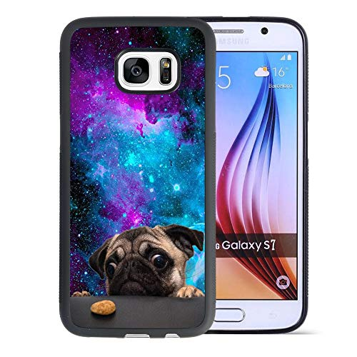 DragonCat Cookie Pug Samsung Galaxy S7 Edge Case Hard Shell Back Cover Tire Pattern Soft Edge TPU + PC Material Black Phone Case for Samsung Galaxy S7 Edge Cookie Pug