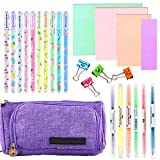 Big Pencil Cases Pink for Women,Cool School Stationary Set Supplies with 10 Color Gel Pens 6 Highlighters 400 Sheets Sticky Notes for Teenage Boys Girls(25pcs Set) (Purple)