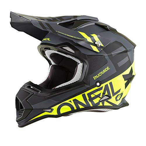 ONeal unisex-adult off-road style 2SERIES Helmet SPYDE black/hi-viz XL, X-Large