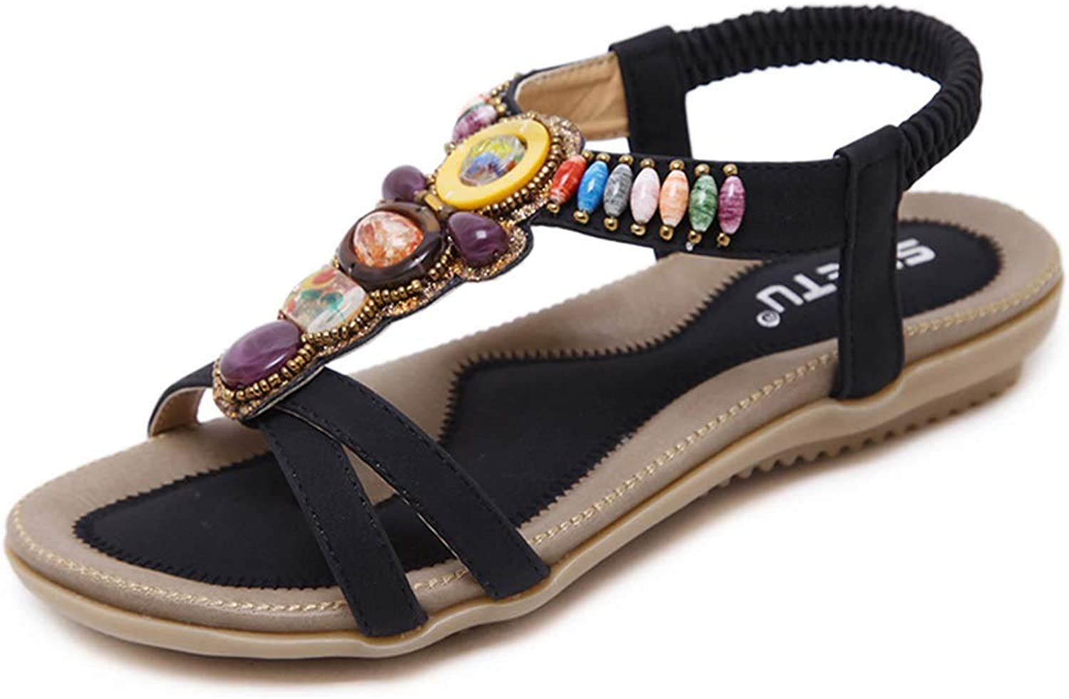 Women's Sandals, National Sandals Bohemian Beads Large Size Flat shoes Open Toe Non-Slip Breathable Lining Women's Sandals,Black,37