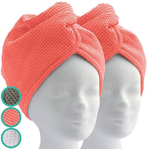 ELEXACARE haartulband, tulband handdoek met knoop (2 stuks, koraalrood/oranje), microvezel handdoek voor hoofd en lang haar