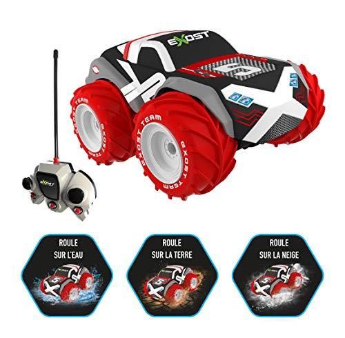 Exost – ferngesteuertes Auto – Aqua Typhoon – fahrt auf Erde, Schnee und Wasser – für jeden Untergrund – Spielzeug Maßstab 1:24, Rot, 20207